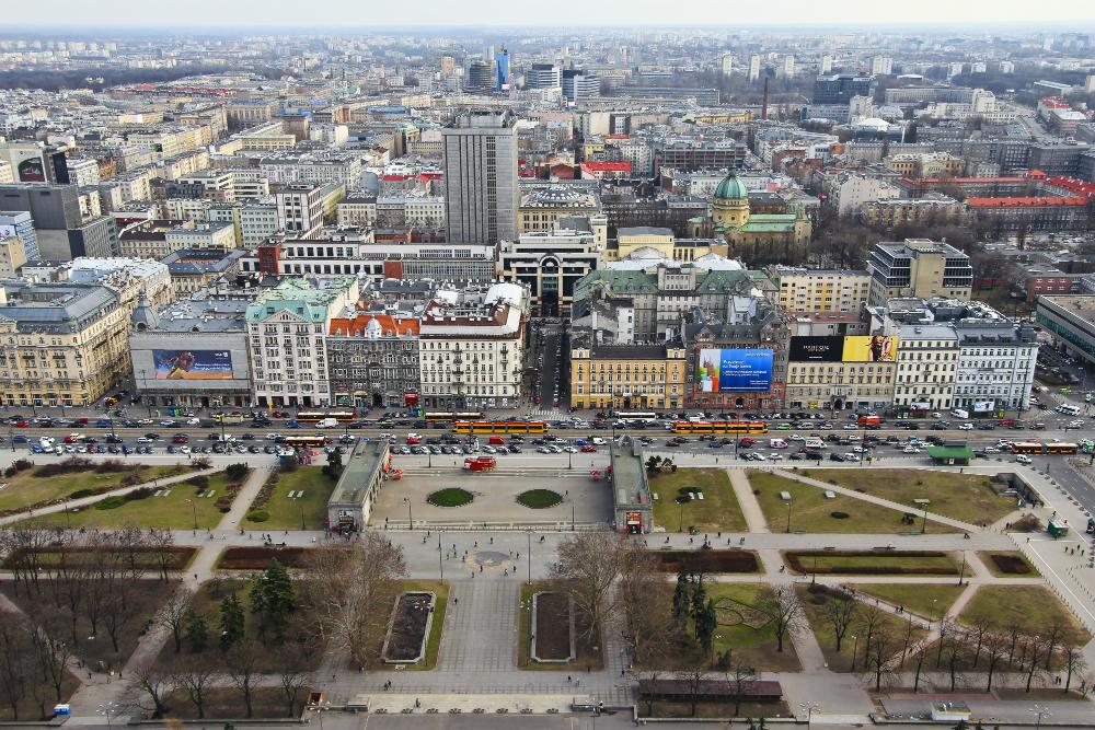 Widok z Pałacu Kultury i Nauki